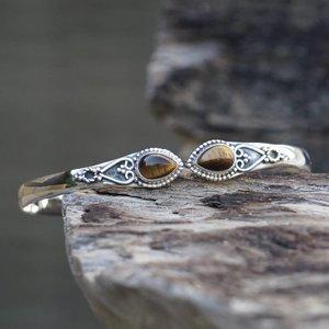 Zilveren edelsteen armband Vanida Tiger eye