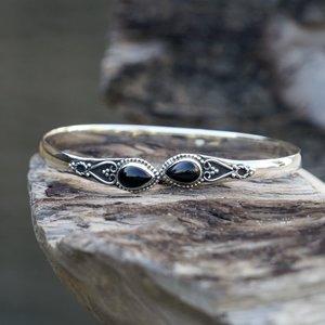 Zilveren edelsteen bangle Vanida Black Onyx