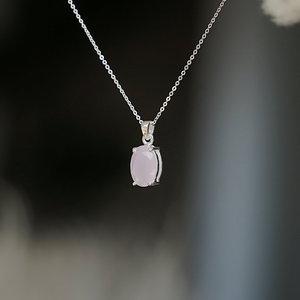 Zilveren edelsteen hanger Rozenkwarts