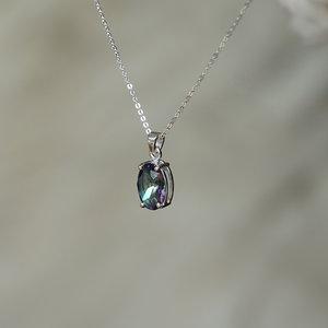 Zilveren edelsteen hanger Mystic Topaz Quartz