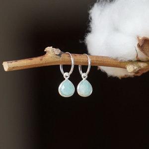 Zilveren hoop oorringen Amazonite