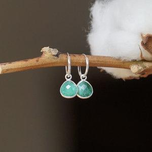 Zilveren hoop oorringen Smaragd