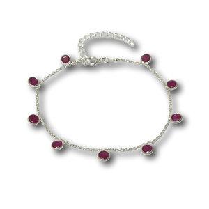 Zilveren armbandje Robijn