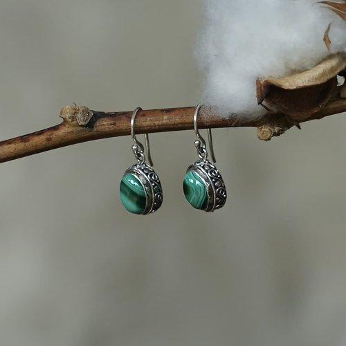 Zilveren oorbellen Malachiet
