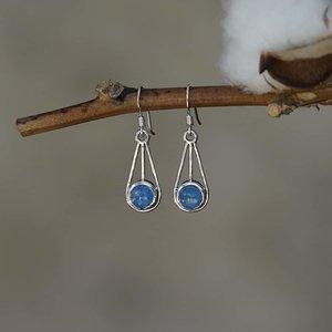 Zilveren oorbellen Blauwe Maansteen