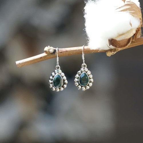 Zilveren oorbellen Smaragd