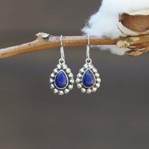 Zilveren Lapis lazuli oorbellen