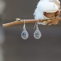 Zilveren oorbellen Labradoriet edelsteen