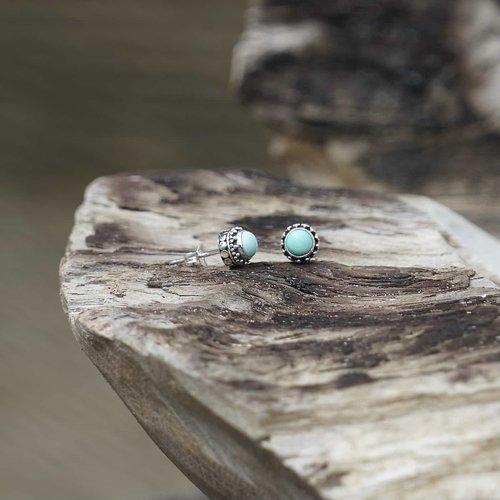 Zilveren oorknopjes Turquoise