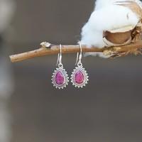 Zilveren oorbellen met Robijn edelsteen