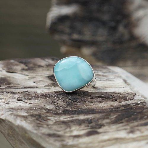 Zilveren ring Larimar Esmeralda