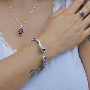 Zilveren Bali bangle armband Amethist