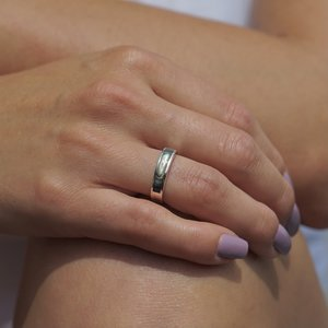 Zilveren ring Abalone shell