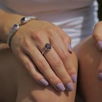 Zilveren edelsteen ring Amethist