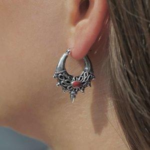 Zilveren oorbellen Mika Red