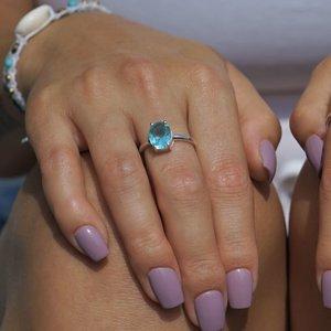 Zilveren edelsteen ring Blue Topaz