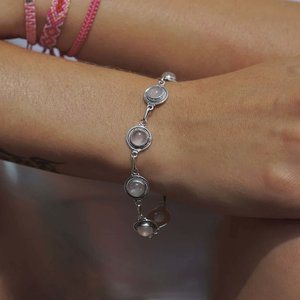 Zilveren edelsteen armband Rozenkwarts Kiri Tawan