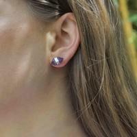 Zilveren oorknopjes Amethist dubbeleinder