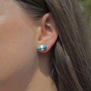 Zilveren oorknopjes Turquoise dubbeleinder