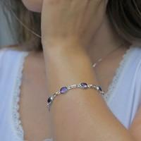 Zilveren edelsteen armband Amethist