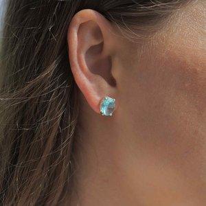 Zilveren oorknopjes Blue Topaz