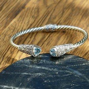 Zilveren Bali bangle armband Blue Topaz