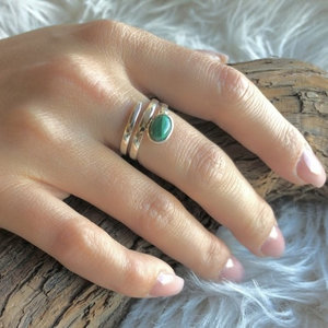 Zilveren ring Malachiet