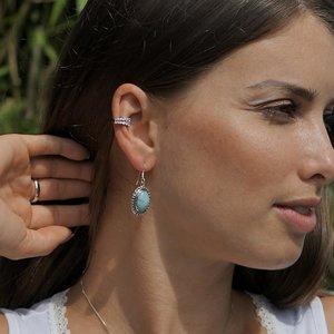 Zilveren Larimar oorbellen