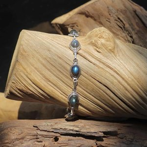 Zilveren edelsteen armband Labradoriet Lymalia