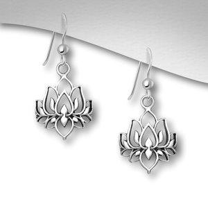 Zilveren Lotus oorbellen