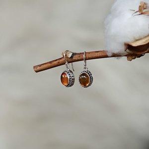 Zilveren oorbellen Amber