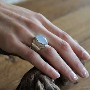 Zilveren ring small Anello Blue Chalcedone