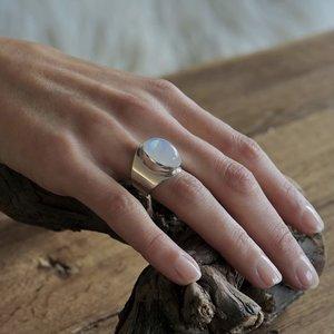 Zilveren ring small Anello Maansteen