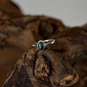 Zilveren edelsteen ring piccola Malachiet