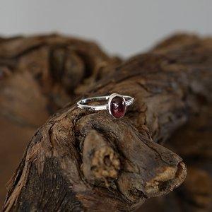 Zilveren edelsteen ring piccola Granaat