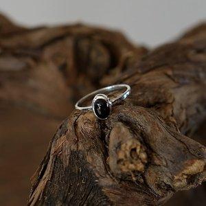 Zilveren edelsteen ring piccola Black Onyx
