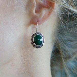 Zilveren oorbellen Groene Agaat