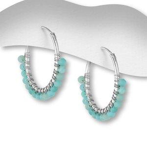 Zilveren oorringen Amazonite