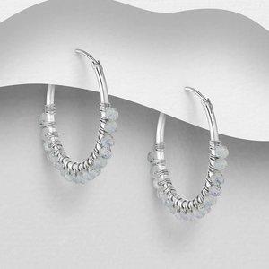 Zilveren oorringen Maansteen