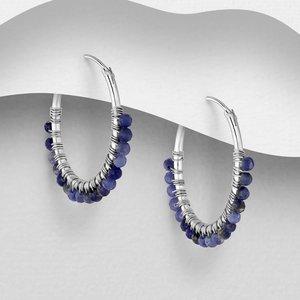 Zilveren oorringen Blauwe Saffier
