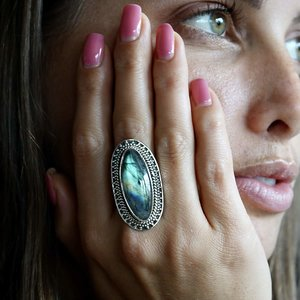 Zilveren ring Labradoriet  Maxima