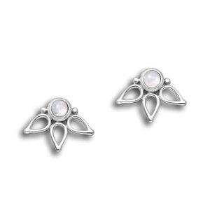 Zilveren oorknopjes Maansteen Lotus