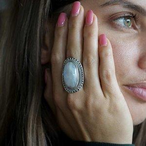 Zilveren ring Maansteen Maxima