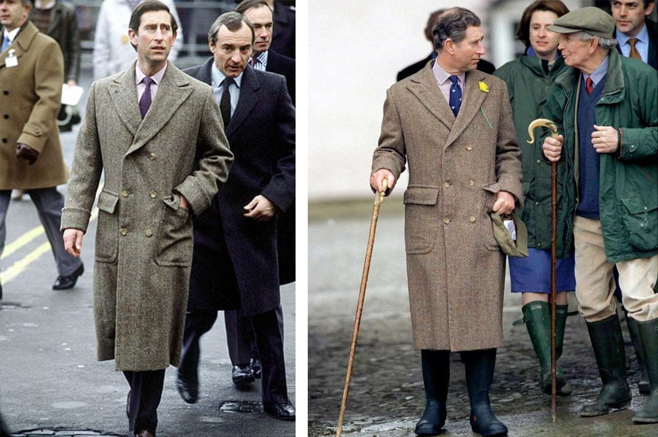 Prince Charles wears a long brown coat and boots outside