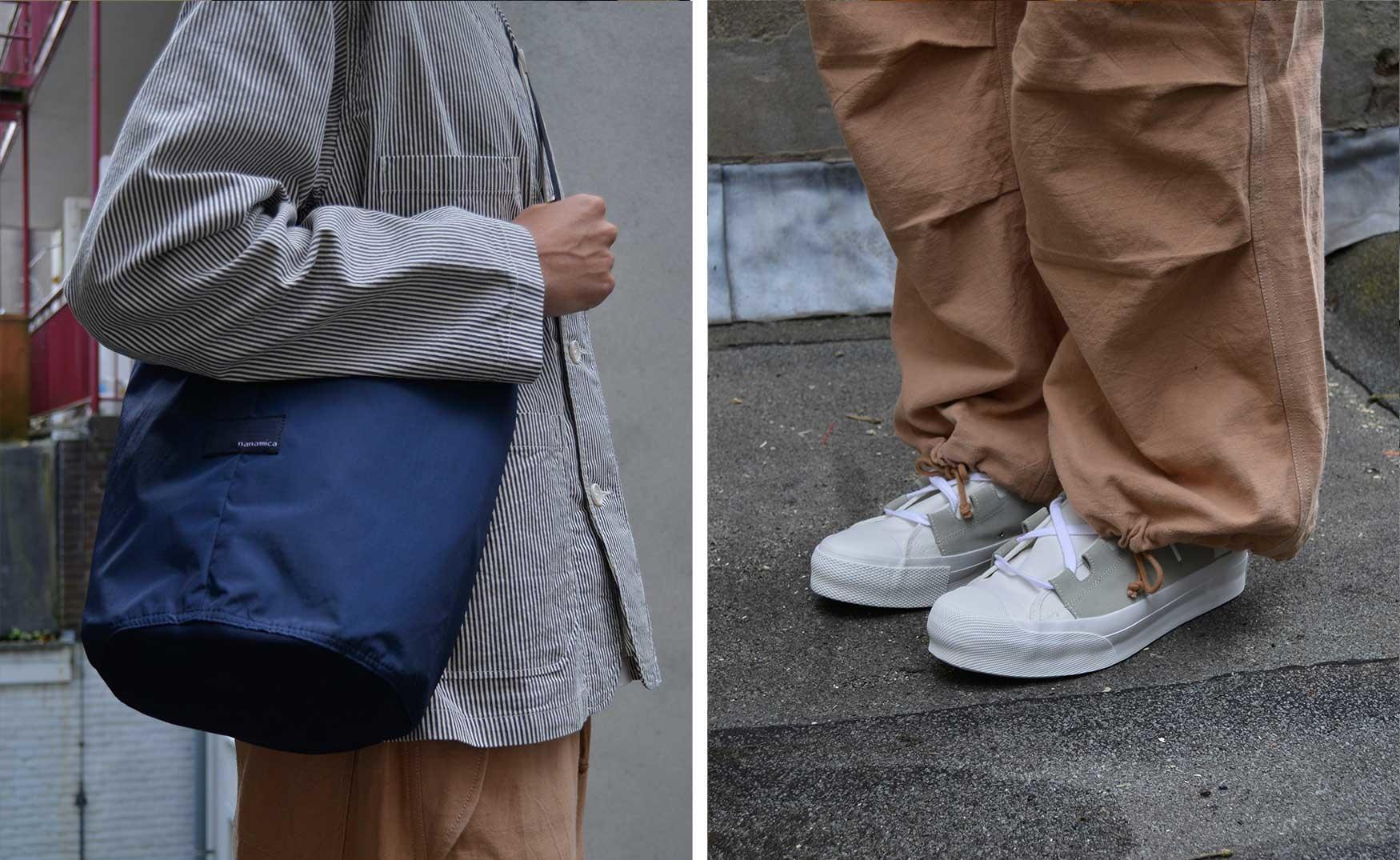 Noe holds a navy Nanamica shoulder bag