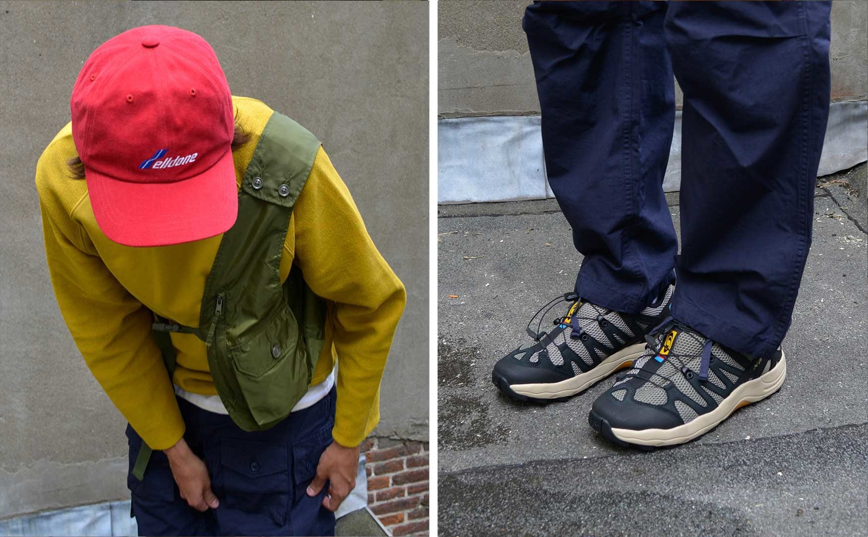 noe rolls up the leg of a pair of navy Engineered Garments pants