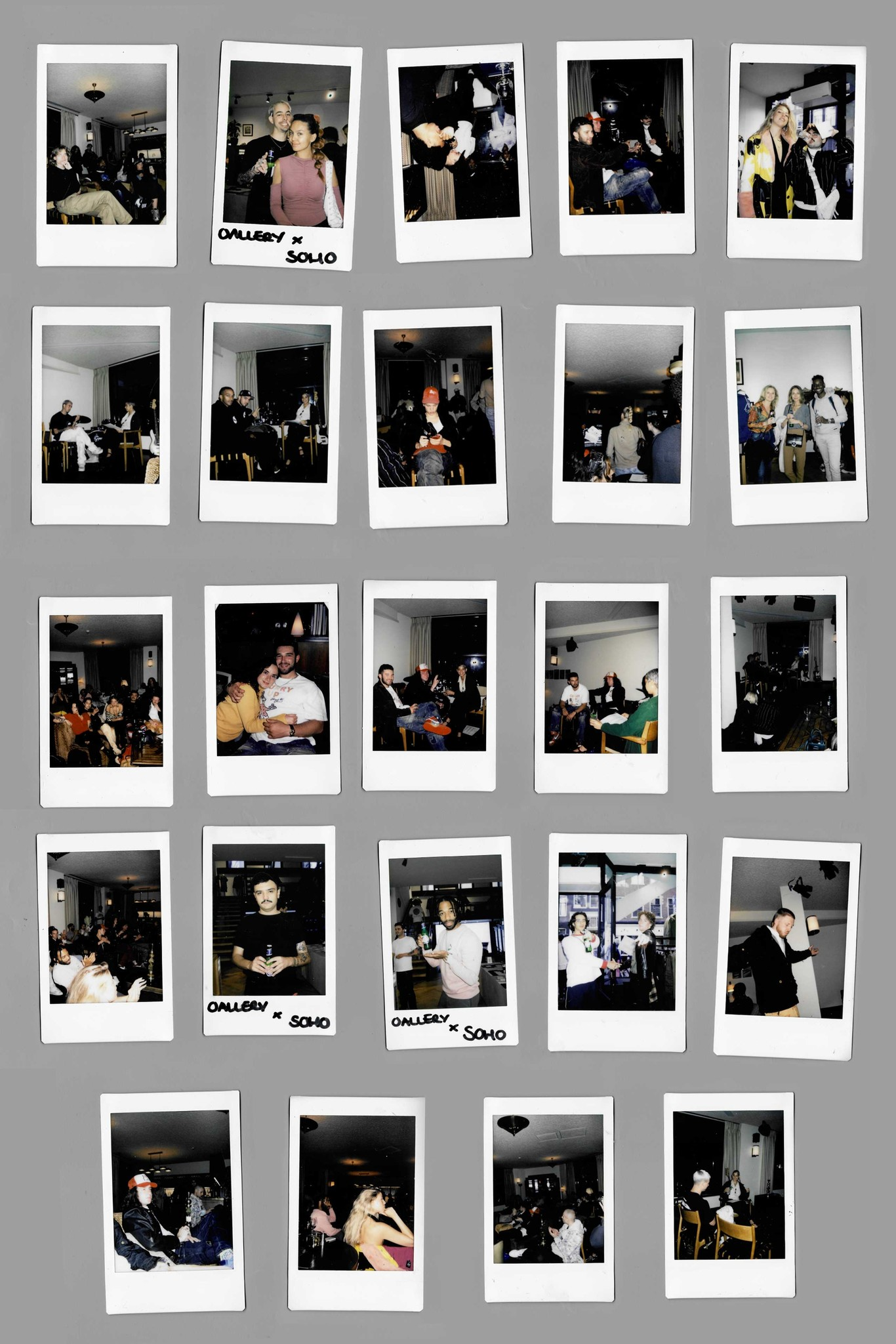 Polaroids on a grey background