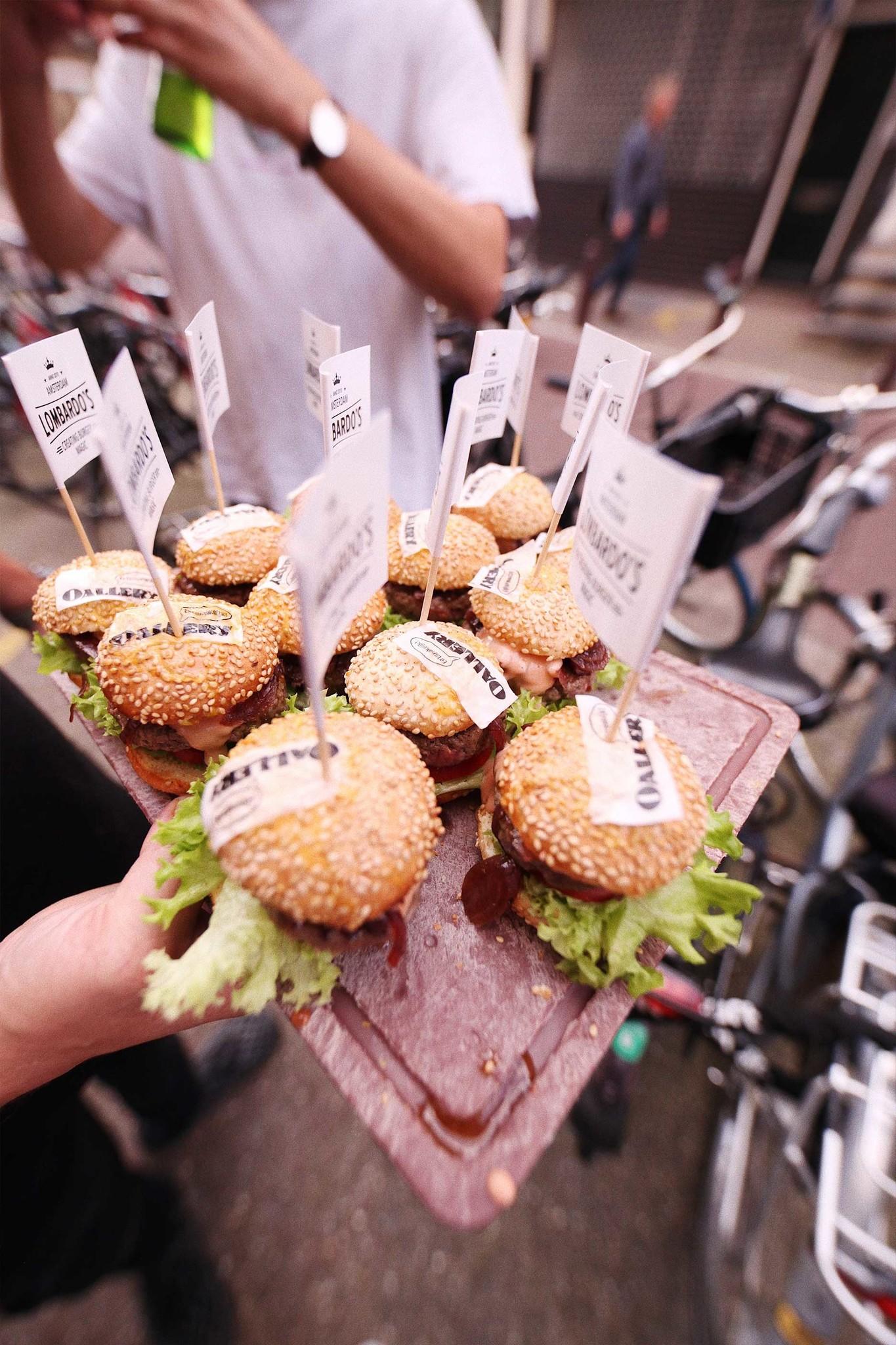 Plate with mini hamburgers