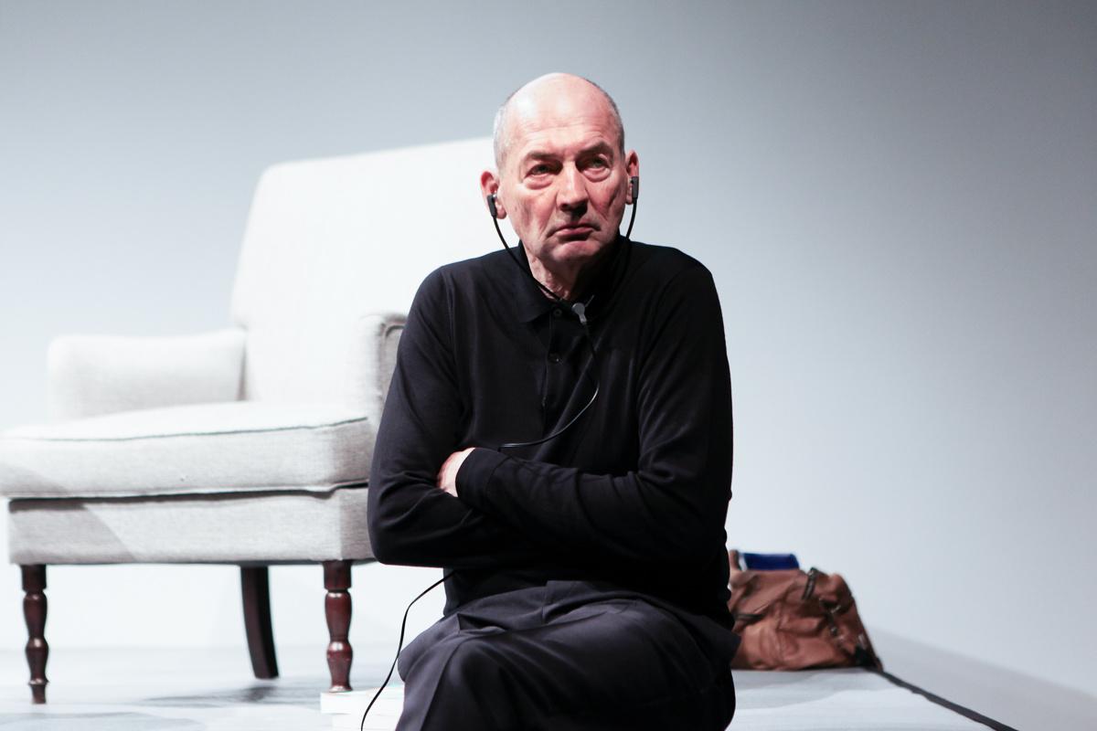 Rem Koolhaas posing in black sweater