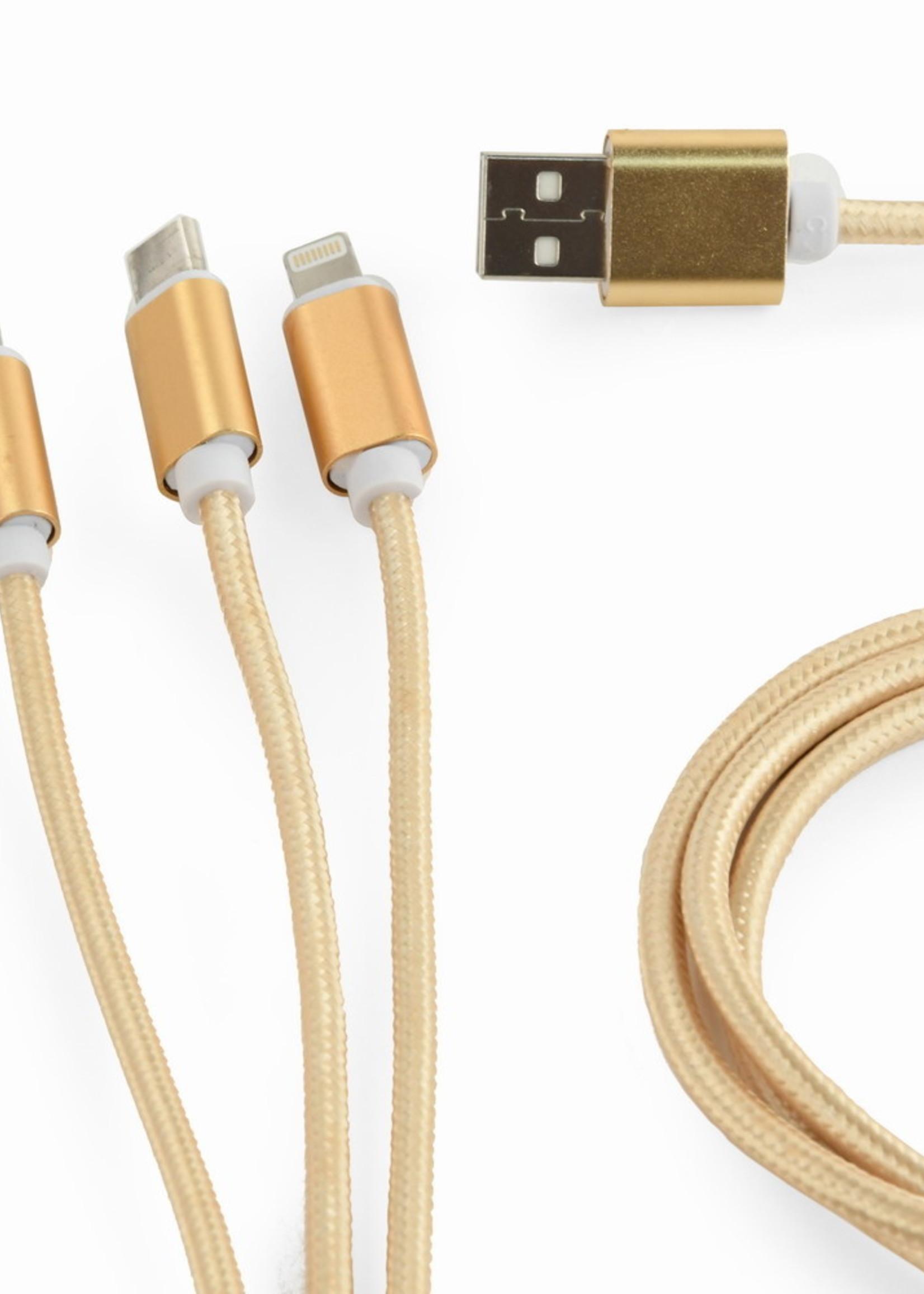 CableXpert 3-in-1 USB laadkabel 1 meter goud